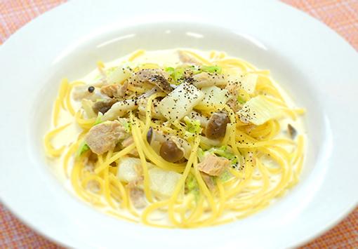 ツナと白菜のクリームスープパスタ