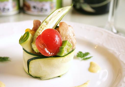 夏野菜とやきとりのガレット ~柚子こしょう風味~